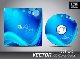 Shiny sky blue waves decorated CD Cover design for your business.