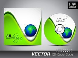 Creative CD Cover with world globe and abstract wave.