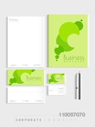 Professional corporate identity kit with green leaves for your business includes Letterhead, Brochure, Envelopes, Visiting Cards and stationary.