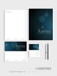 Beautiful blue corporate identity kit for your business includes Letterhead, Visiting Cards, Envelopes, Brochure and stationary.
