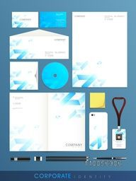 Stylish big set of corporate identity for your business on blue background.