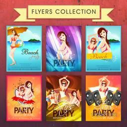 Set of Stars Party and Beach Party Flyers or Invitations decorated with beach view and young modern girls.