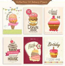 Set of Bakery flyers including party flyer, birthday invitation and sweet house flyers.