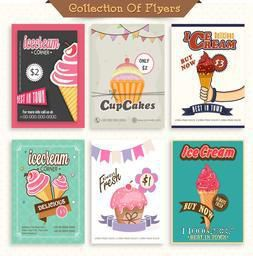 Collection of six stylish flyers and menu cards design decorated with sweet ice-cream and cupcakes.