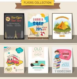 Collection of different stylish flyers of summer sale, tourism, back to school and toy shop purpose.