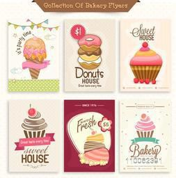 Set of different menu cards or flyers decorated with ice cream, donuts and cupcakes for sweet house.