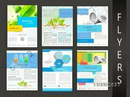 Collection of stylish Health and Medical flyer, template or banner design.