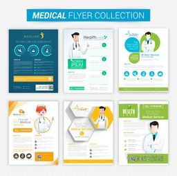 Collection of Health and Medical flyers and banners decorated with illustration of doctor.