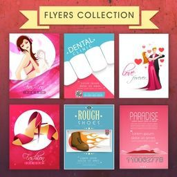 Set of different Flyers including Fashion Flyer, Party Flyer, Tourism Flyer and Medical Flyer.