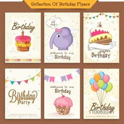 Collection of six birthday invitation cards decorated with sweet cakes, cute elephant and colorful balloons.