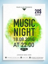 Creative Music Night flyer, template or banner design with party details on color splash background.