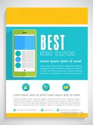 Creative professional template, banner or flyer design with smartphone for Mobile Solutions.