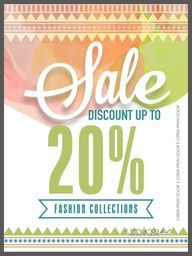 Creative colorful flyer, template or banner design of Sale with 20% discount offer on Fashion Collections.