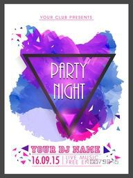 Creative abstract Party Night flyer, template or banner design decorated with shiny color splash.