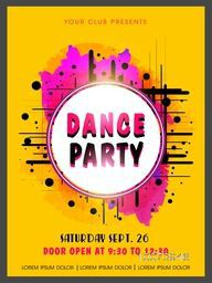 Creative abstract Dance Party flyer, template or banner design on color splash background.
