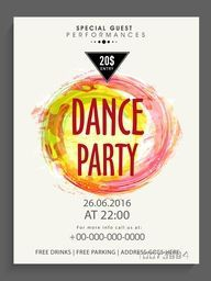 Creative Dance Party template, banner or flyer design decorated with color splash.