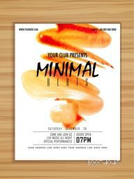 Creative stylish Minimal Beats, Music Party celebration flyer, banner or template with orange paint stroke.