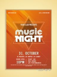 Music Night Party celebration flyer, banner or template in abstract orange color.