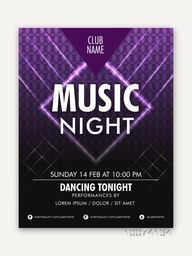 Music Night Party celebration elegant one page Flyer, Banner or Template design.