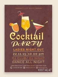 Stylish Cocktail Party celebration one page Flyer, Banner or Template with date and time details.