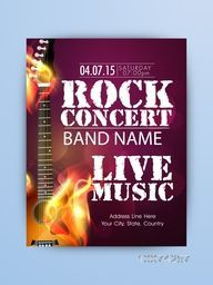 Rock Music Night Party celebration one page Flyer, Banner or Template with illustration of a guitar in flame.