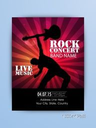 Rock Music Night Party celebration one page Flyer, Banner or Template with illustration of a guitarist.