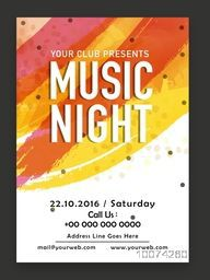 Music Night Party celebration, one page Flyer, Banner or Template with colorful abstract design.