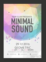 Creative stylish Minimal Sound, Music Party celebration, one page Flyer, Banner or Template design.