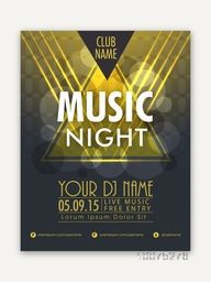 Music Night Party celebration Flyer, Banner or Pamphlet with date and time details.