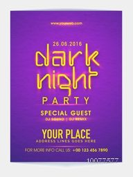 Night Party Template, Banner or Flyer design with date and place details.