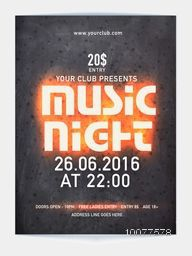 Music Night Party Template, Banner or Flyer design with date and time details.