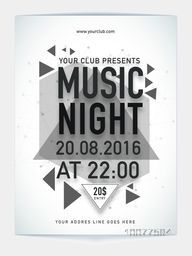 Creative Template, Banner or Flyer design of Music Night Party with date and time details.