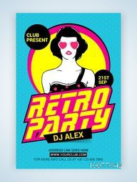 Creative Retro Party Template, Banner or Flyer design with illustration of a young modern girl.