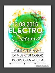 Electro Sound, Music Party celebration Flyer, Banner or Pamphlet design with details.