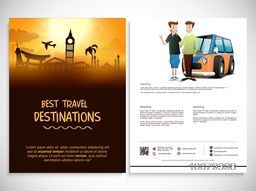 Creative Two Page Flyer, Banner or Template design with illustration of famous monuments for Tour and Travel, Business concept.