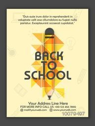 Creative Flyer, Banner or Template design with illustration of a pencil for Back to School concept.