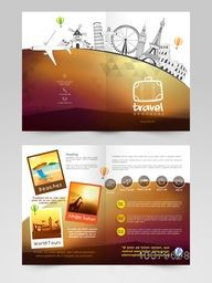Creative Two Page Brochure, Template or Flyer design for Tour and Travel, Business concept.