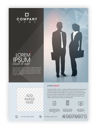 Creative Professional Brochure, Template or Flyer design with silhouette of business people and space to add image.