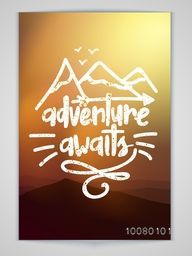 Creative Flyer, Banner or Pamphlet with beautiful evening background for Adventure Awaits.