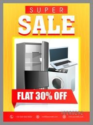 Super Sale Flyer, Banner or Pamphlet with 30% discount offer for Electronics Shop.