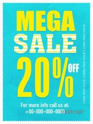 Mega Sale Flyer, Banner or Pamphlet with 20% discount offer.
