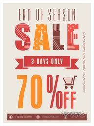 End of Season Sale Flyer, Banner or Pamphlet with 70% discount offer for 3 days only.