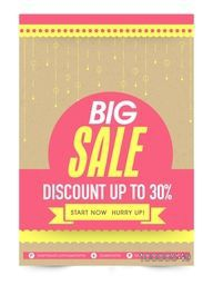 Big Sale Flyer, Pamphlet or Banner with 30% discount offer.