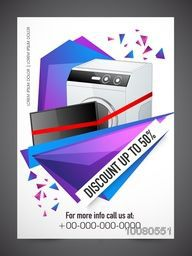 Sale Flyer, Banner or Pamphlet with 50% discount offer for Electronics Shop.