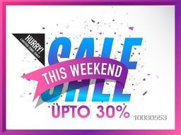 Stylish Sale Flyer, Banner or Poster with 30% discount offer for this Weekend only.
