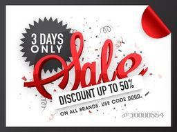 Creative Sale Flyer, Banner or Poster with 50% discount offer for 3 days only.