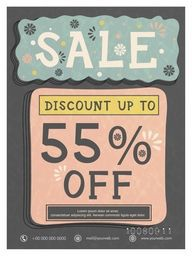 Sale Poster, Sale Banner, Sale Flyer, Discount Upto 55%. Vintage vector illustration.