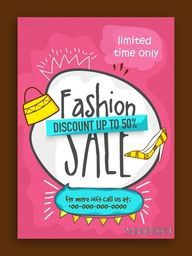 Fashion Sale Poster, Sale Banner, Sale Flyer, Discount upto 50% for limited time, Creative vector illustration.
