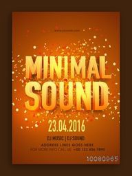 Musical Party Template, Banner or Flyer design with glossy 3D text Minimal Sound.
