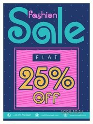 Fashion Sale Flyer, Sale Banner, Sale Poster, Flat 25% Off, Vector illustration.